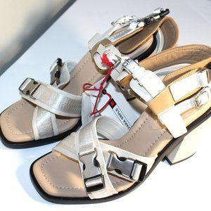 NWT $155 ZARA SRPLS MILITARY Biege Sandals Sz 8 L4